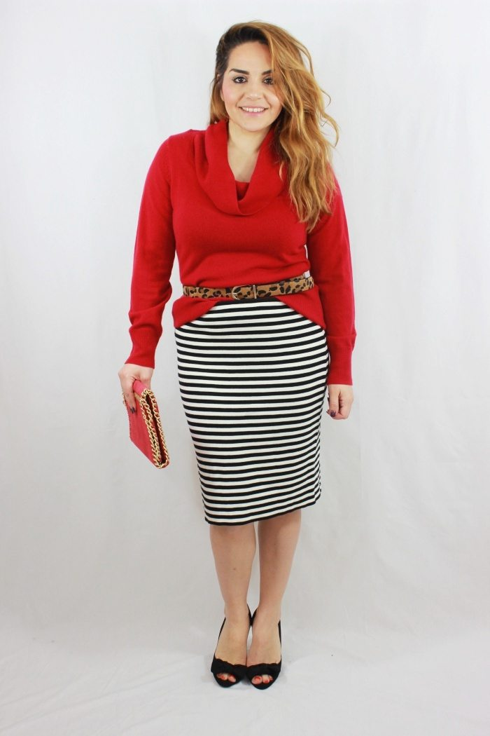Pencil Skirt kombiniert mit Pullover mit Schalkragen 3